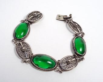 Vintage Silver & Green Glass Art Deco Filigree Bracelet