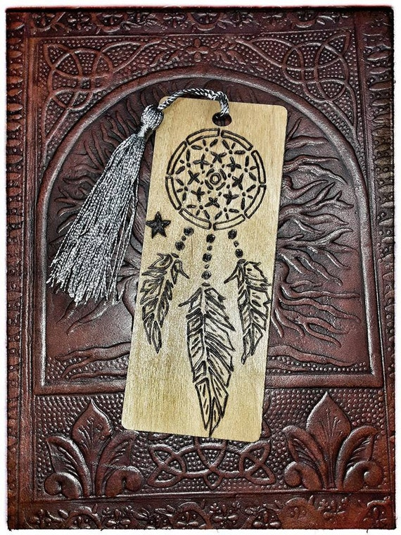 Wooden Bookmark (Dream Catcher and Star)