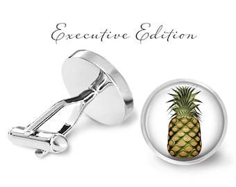 Pineapple Cufflinks - Tropical Pineapple Cuff Links - Tropical Hawaiian Cufflink (Pair) Lifetime Guarantee (S0497)