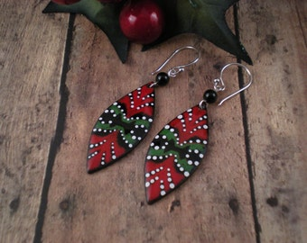 Ornament Enamel Earrings   red green black white  Sterling Silver  Onyx  OOAK