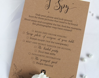 Rustic I SPY Wedding Game Cards to Place at Wedding Tables by Paradise Invitations
