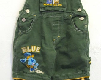 Marked Down 50%@@Boy's Vintage 90's,Green BIB Overall/Shortalls By BLUE'S CLUES.3T