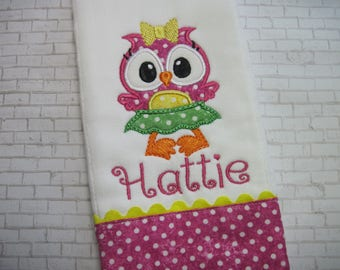 Personalized Baby Girl Burp Cloth with a Sweet Owl