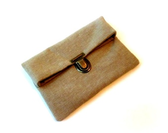 Fold over clutch, brown clutch bag with bronze purse thumb lock, brown cotton makeup bag, small brown folded clutch pouch