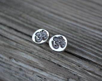 Om Post Earrings, Om, Sterling Silver, Recycled