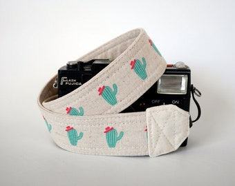 Camera strap, SLR camera strap, summer neck strap, cacti camera strap, gift for plants lover