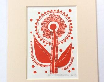 linocut - SUNFLOWER // 8x10 art print // linocut printmaking // block print // red // flower art // nature art // 5x7