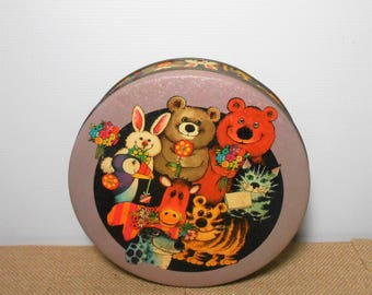 Vintage Tin, Cookie Tin, Animals, Tin Box, Container, Round Tin, Storage, Tin Container, Tin Can, Canister