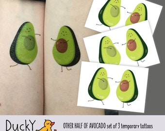 "Set of 3 temporary tattoos ""You are my other half of Avocado"". Kawaii love avocado fruit kids tattoos, wedding romantic tattoo. TT263"