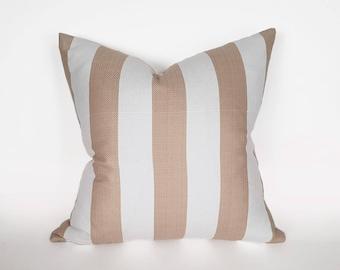 Tan Striped Pillow, Coastal Pillow Covers, Summer Decorative Pillows, Beach House Pillows, Striped Cushions, 12x18, 18x18, 20x20