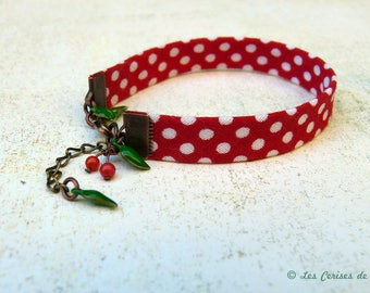 Bias Liberty Red and white polka dots - Lucie cherry bracelet