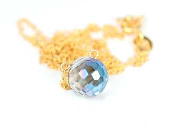 Fortune teller necklace - crystal ball necklace - gypsy necklace - crystal globe - a blue crystal drop on a 14k gold vermeil chain