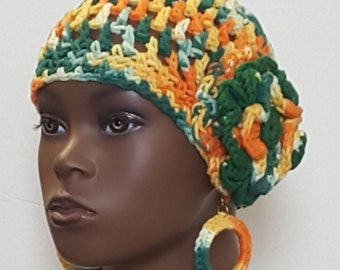 CLEARANCE Small Head Cotton Crochet Beanie Skullcap with Earrings by Razonda Lee Razondalee Ready to Ship