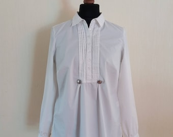 Vintage White Cotton Blouse Size Large to XLarge
