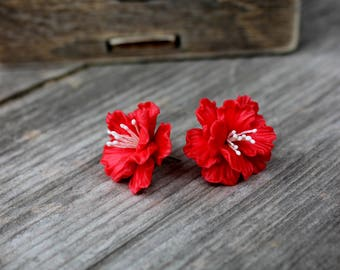 BUY 2 PAIRS - GET 3. Mini Sakura Earrings Studs Posts, Sakura Blossom, Spring Jewelry, Mini Pink Jewelry,Sakura Stud Earrings, Stud Earrings