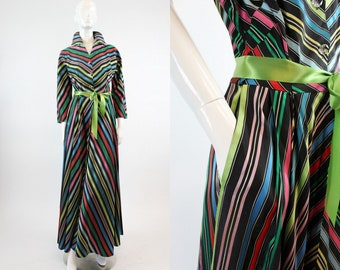 40s Chevron Rainbow Striped Dress XS  / 1940s Vintage Dressing Gown / Crayola Gown