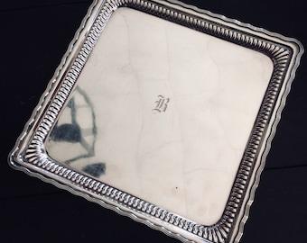 Antique Tiffany & Co Silver Plate Serving Platter - B Monogram