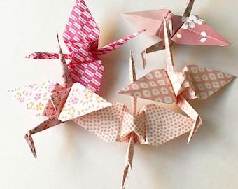 5 Pink Paper Cranes (5)