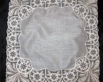 Antique Lace Handkerchief, Wedding Hankerchief Hankie Bridal Hanky