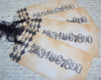 Vintage Themed Hand Stamped Numbers Gift Tags - Set of 4 Ex-Large Tags - Paris Style