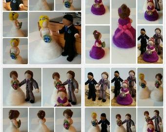 Needle felt bride/groom/bridesmaid. Made to order. Cake topper. Keepsake. Wedding gift.