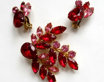 "Free Shipping to US. Vintage Ruby Red and Pink Rhinestone ""Beau Jewels"" Brooch & Clip earrings Demi Parure - STUNNING!"