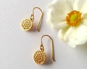 Petite gold contemporary filigree drop earrings