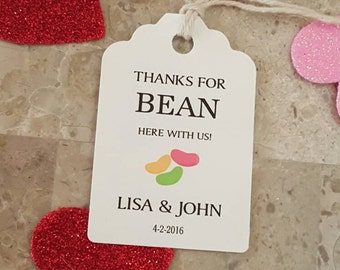 Personalized Favor Tags 2 1/2'', Wedding tags, Thank You tags, Favor tags, Gift tags, Bridal Shower Favor Tags, bean