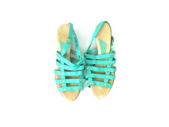 Gladiator Sandals Mint Turquoise Green Sandals Leather Open Toe Heels Womens Vintage Strappy Sandals Vacation Resort Wear Summer Shoes 8.5