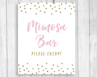 Mimosa Bar Please Enjoy 5x7, 8x10 Printable Bridal Shower, Baby Shower or Wedding Sign - Light Pink and Gold Glitter Polka Dots