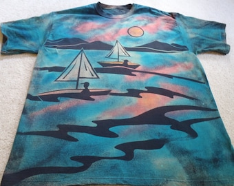 Sailboats, palm trees, sunsets, imagine summer breezes, beautiful sunsets, pink clouds, man's XL discharge t-shirt with procion dyes