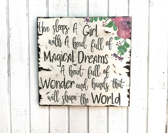 Here sleeps a girl, rustic wood sign, handpainted wood sign, girl bedroom decor, farmhouse decor, home decor, gift for her, gift, inspiratio