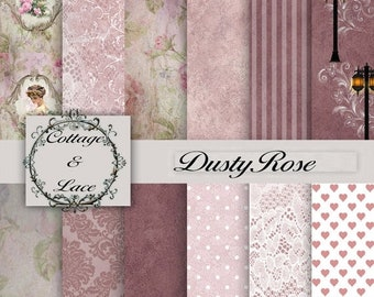 Sale Floral Digital Paper: Floral and Lace Dusty Rose Floral, Background, Floral and Lace, Digital Scrapbooking, Damask,  No 1126
