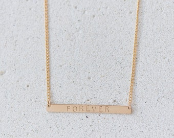 Forever stamped bar necklace/Forever Necklace