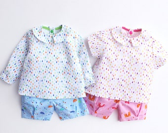 PITTER Shorts pattern and PATTER Shirt pattern Pdf sewing, Baby Boy Girl, Easy Blouse Top, toddler newborn up to 6 yrs