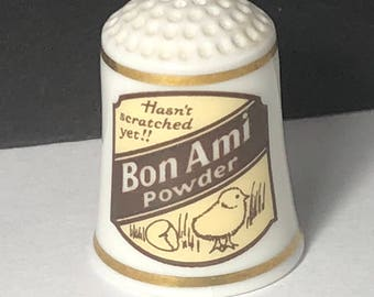 1980 FRANKLIN MINT THIMBLE vintage porcelain sign food product advertising gold trim figurine miniature Bon Ami powder hasnt scratched yet
