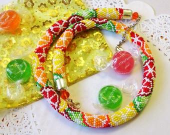 "Beaded Crochet Necklace ""Citrus Mix"", Handmade jewelry"
