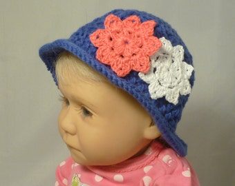 Crochet Baby Hat, Blue with White and Pink Flowers