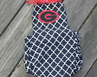 georgia romper, girls sunsuit, baby girls clothing, georgia clothing, University of georgia