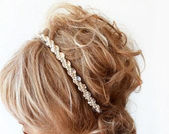 Bridal   headband, Rhinestone and Pearl  headband,  Wedding Headband,  Bridal Hair Accessory, Wedding  Accessory