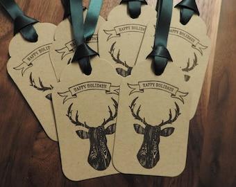 Rustic style deer head tags - set of 6 Christmas tags