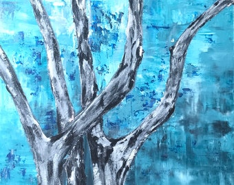 Abstract painting of trees in blue acrylics 18 by 24 inches