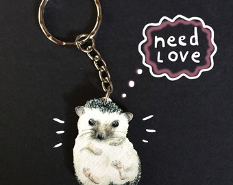 Wooden Hedgehog keychain