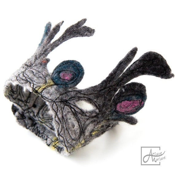 OOAK Wearable art Bracelet - Sculptural Textile bracelet in black, gray, blue and pink - Outstanding Fiber art cuff - Paris made accessory