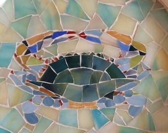 Mosaic glass crab wall hanging