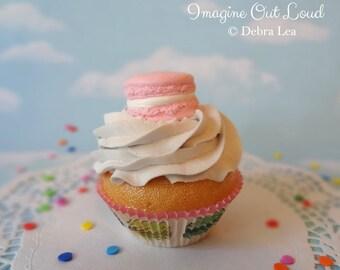 LAST ONE Fake Cupcake Handmade Pink Macaron Decor Fake Food Kitchen Display