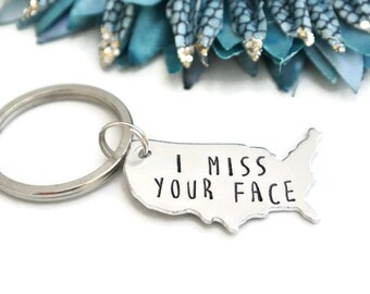 I Miss Your Face Keychain | Long Distance Relationship | Long Distance Boyfriend Gift | Long Distance Keychain  Deployment Gift