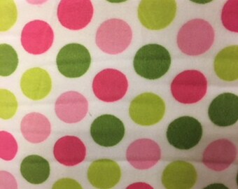Multi Color Minky Dots Lit Pink Med Pink Lime Green and Dark Green