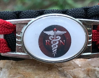 RN and EMS Paracord Bracelet, medical themed, using a shoelace charm