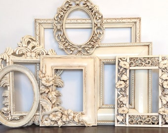 Hummingbird & Morning Glories Frame Gallery - Set of 7 Antique White Open Wall Frames - Frame Wall Decor